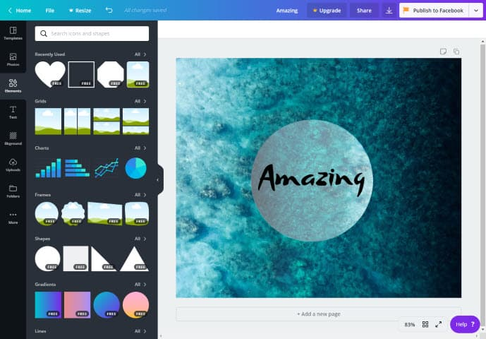 צילום מסך של עיצוב תמונה באתר Canva